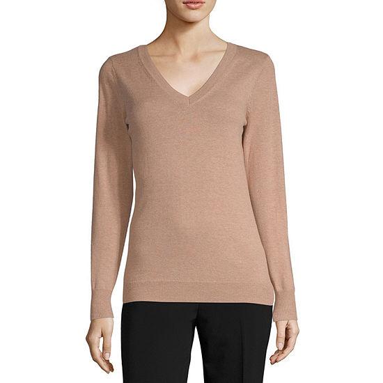 Worthington Womens V Neck Long Sleeve Pullover Sweater