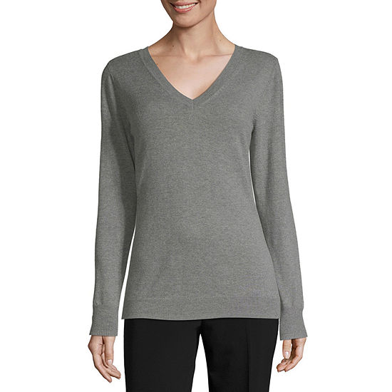 Worthington Womens V Neck Long Sleeve Pullover Sweater