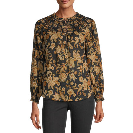 a.n.a Womens Crew Neck Long Sleeve Woven Blouse, Small , Black