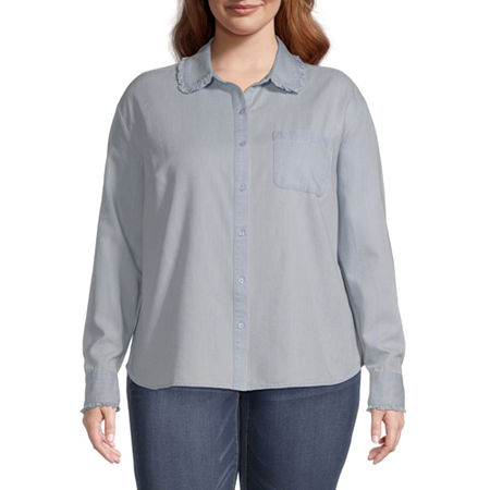 a.n.a-Plus Womens Long Sleeve Regular Fit Button-Down Shirt, 5x , Blue