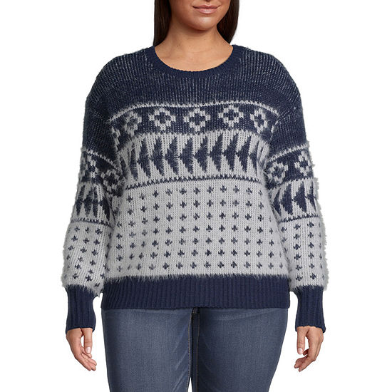 a.n.a-Plus Womens Crew Neck Long Sleeve Geometric Pullover Sweater