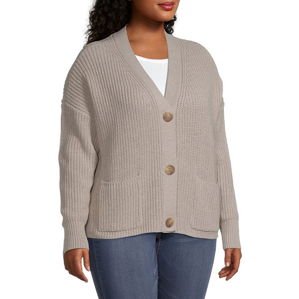 a.n.a-Plus Womens Long Sleeve Button Cardigan