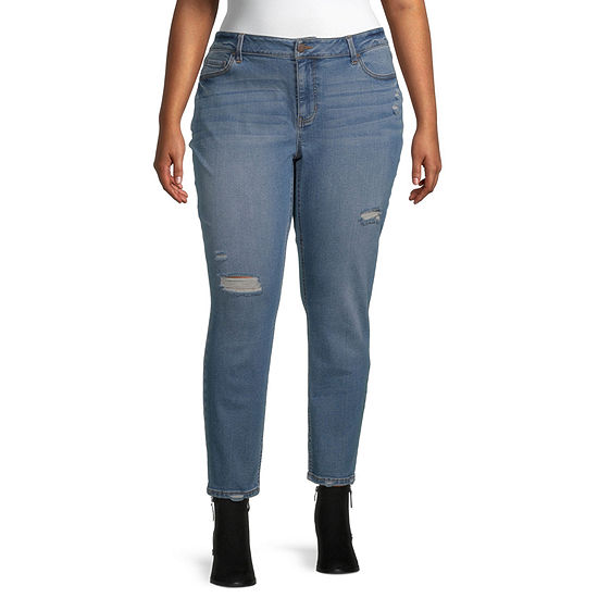 a.n.a Womens High Rise Skinny Destructed Jeggings - Plus