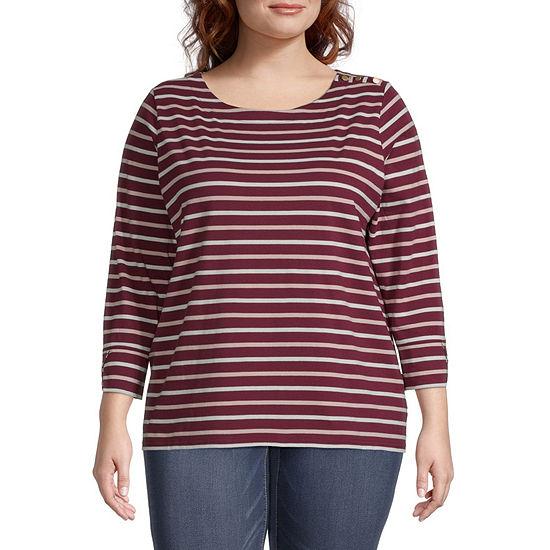 Liz Claiborne Plus Womens Crew Neck 3/4 Sleeve T-Shirt