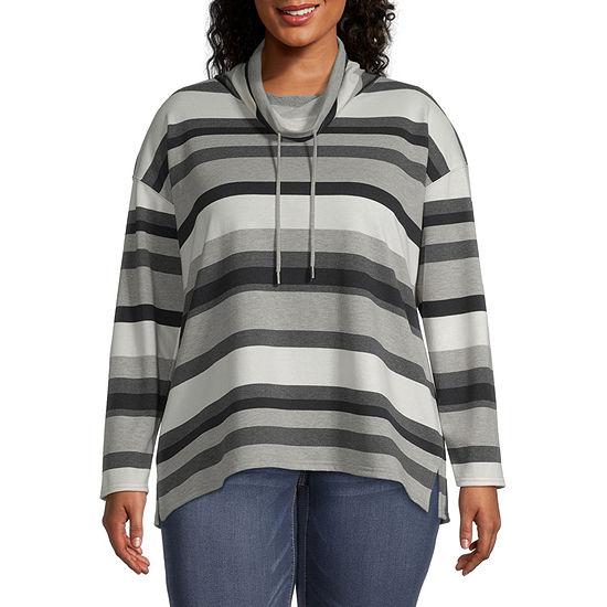Liz Claiborne Womens Cowl Neck Pullover Sweater - Plus
