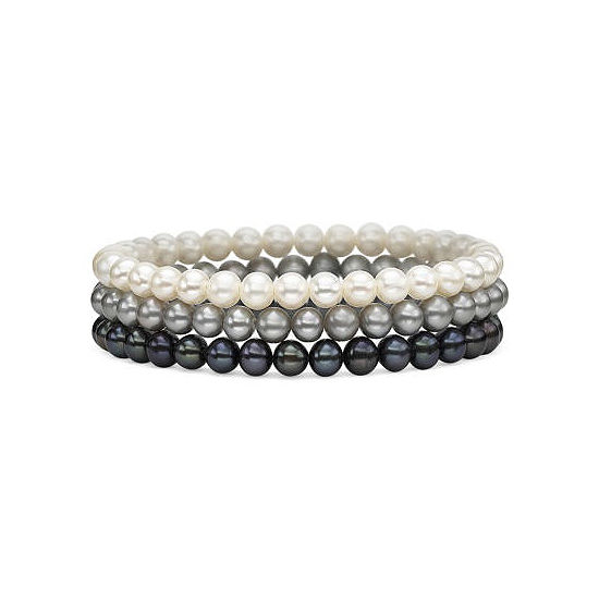 Cultured Freshwater Pearl 3 Pc Stretch Bracelet