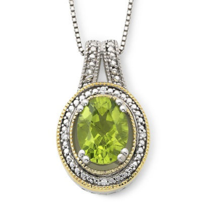 14K Gold-Plated Silver Peridot & Diamond-Accent Pendant Necklace