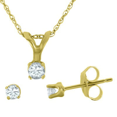 1/4 CT. T.W. Diamond Pendant Necklace & Stud Earring Set