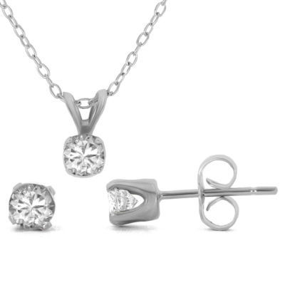 1/2 CT. T.W. Diamond Pendant & Stud Earring Set Sterling Silver Necklace