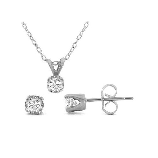 T W Diamond Pendant Stud Earring Set Sterling Silver Necklace