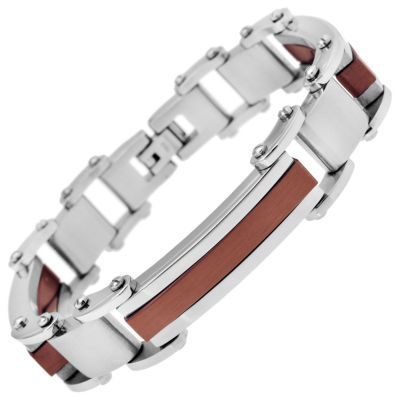 Mens Stainless Steel & Brown IP Bracelet