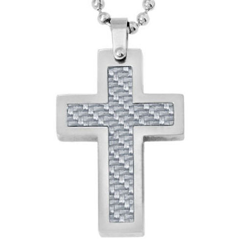 Mens Gray Carbon Fiber & Stainless Steel Cross Pendant Necklace