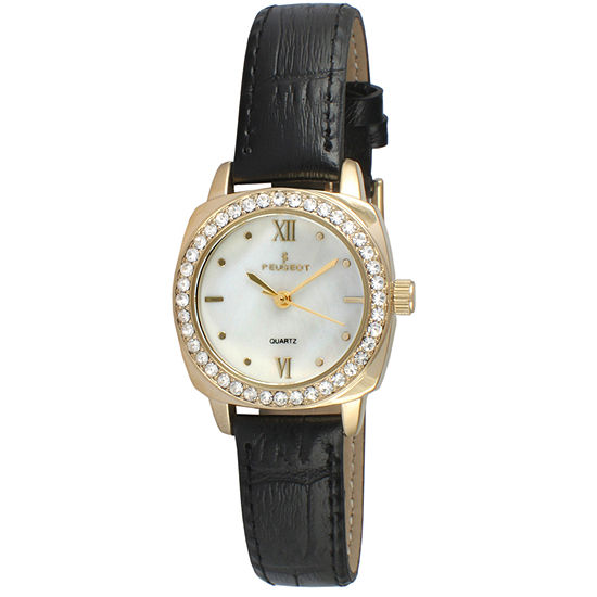 Peugeot Womens Black Leather Strap Watch-3048g