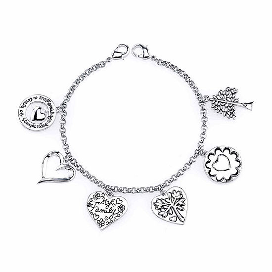 Footnotes Pure Silver Over Brass Charm Bracelet