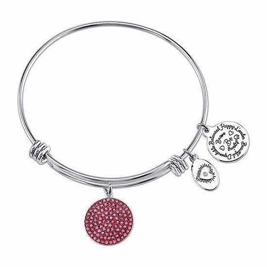 Footnotes Pink Crystal Stainless Steel Bangle Bracelet