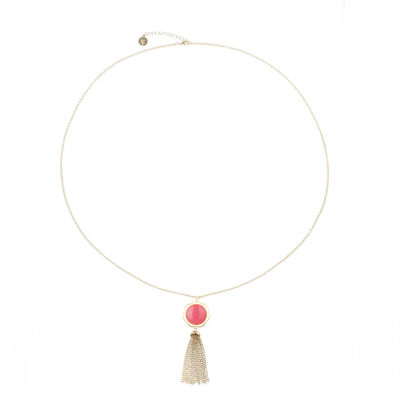 Liz Claiborne Womens Pink Pendant Necklace