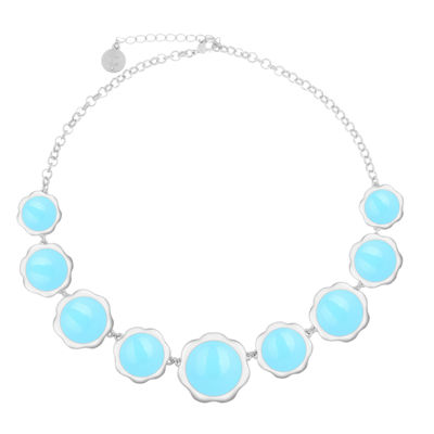 Liz Claiborne Womens Blue Flower Collar Necklace