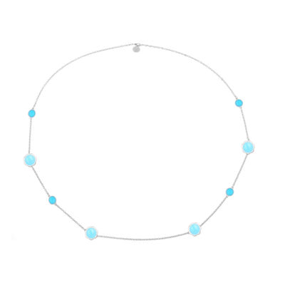 Liz Claiborne Womens Blue Flower Strand Necklace