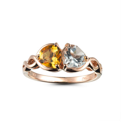 Womens Yellow Citrine 14K Gold Over Silver Bypass Ring