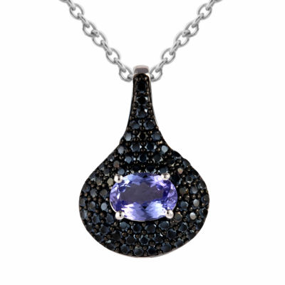 Womens Purple Tanzanite Sterling Silver Pendant Necklace