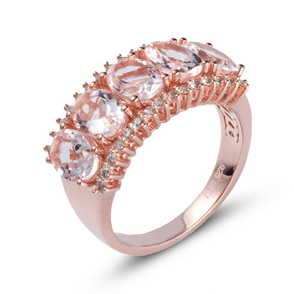 Womens Pink Morganite Gold Over Silver Side Stone Ring