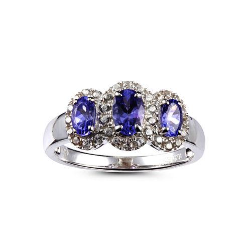 Womens Blue Tanzanite Sterling Silver 3-Stone Ring