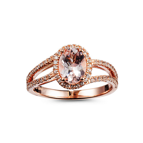 Womens Pink Morganite Gold Over Silver Cocktail Ring