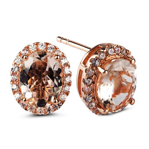 Oval Pink Morganite 14K Gold Over Silver Stud Earrings