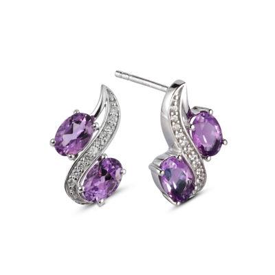 Oval Purple Amethyst Sterling Silver Stud Earrings