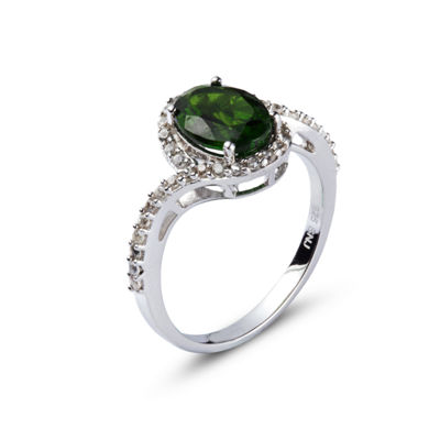 Womens Green Chrome Diopside Sterling Silver Halo Ring