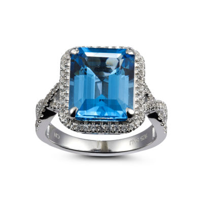 Womens Blue Blue Topaz Sterling Silver Halo Ring