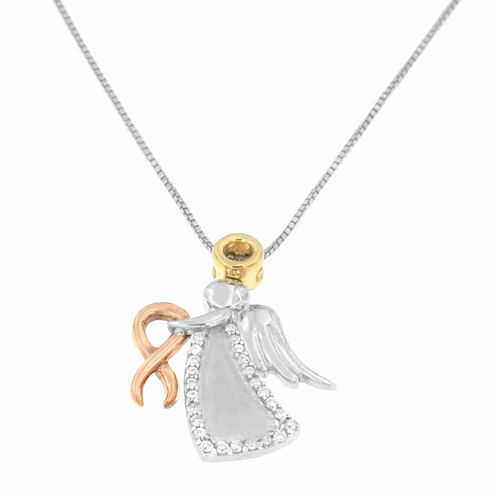 Womens 1 CT. T.W. White Diamond Gold Over Silver Pendant Necklace
