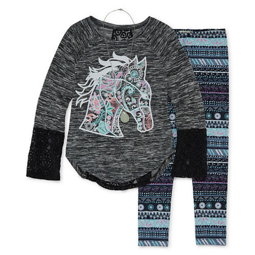 Self Esteem Graphic Long Sleeve Legging Set-Girls' Plus