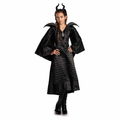 Maleficent Deluxe Black Girls Dress Costume