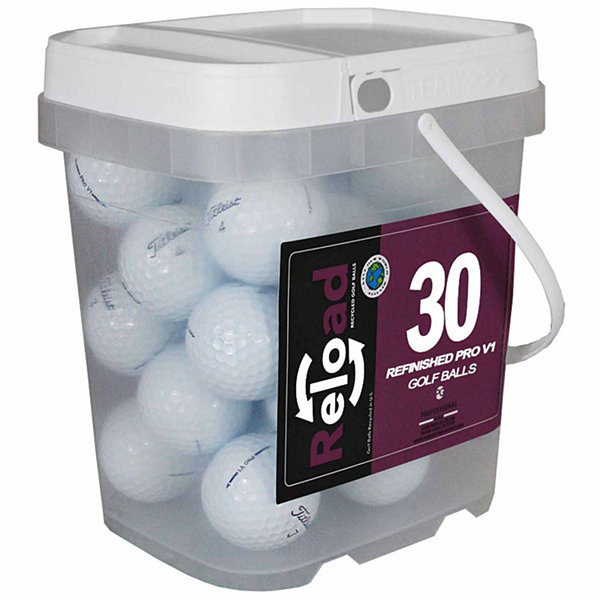Reload 30 pack Titleist Prov1 Refinished Golf Balls in a reusable plastic bucket with handle.