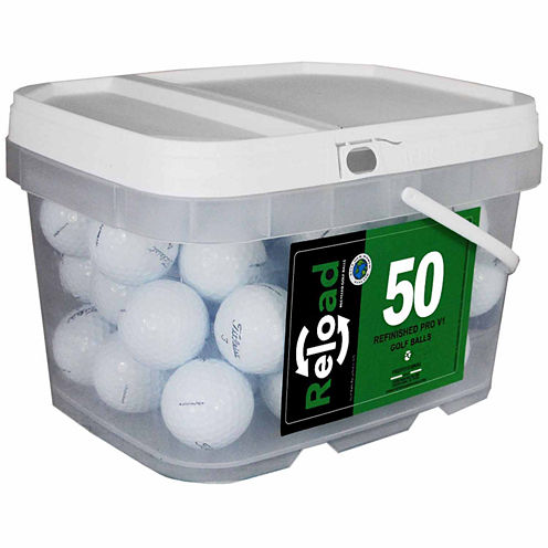Reload 50 pack Titleist Prov1 Refinished Golf Balls in a reusable plastic bucket with handle.