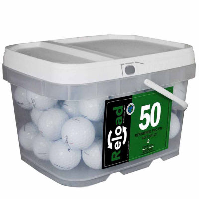 Reload 50 pack Titleist Prov1X Refinished Golf Balls in a reusable plastic bucket with handle.