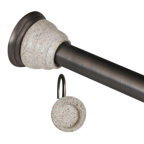 Elegant Deco Shower Rod and Hook Set