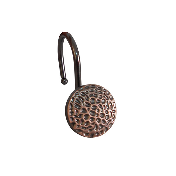 Elegant Hammered Round Shower Curtain Hooks
