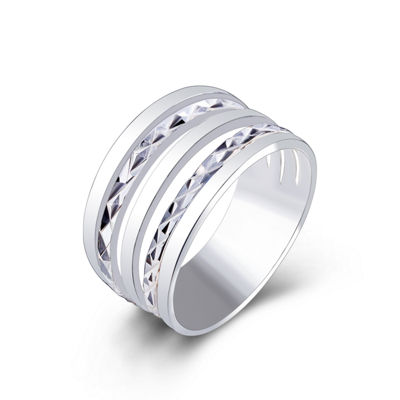 Footnotes Womens 10mm Sterling Silver Band