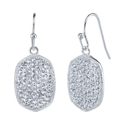 Sparkle Allure Clear Silver Over Brass Drop Earrings