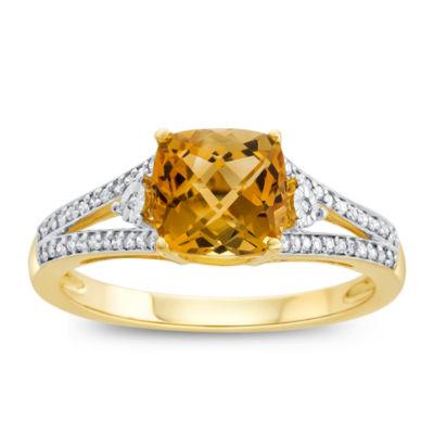 Womens Genuine Citrine & 1/10 CT. T.W. Diamond 10K Gold Cocktail Ring