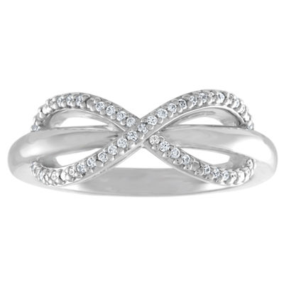 Womens 1/10 CT. T.W. Genuine White Diamond Sterling Silver Infinity Delicate Band