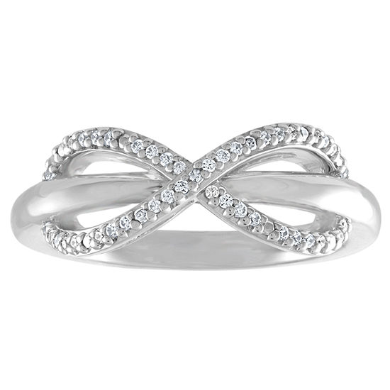 1/10 CT. T.W. Genuine White Diamond Sterling Silver Infinity Delicate Band