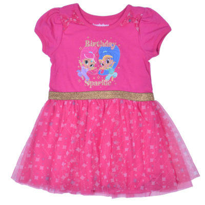 Shimmer and Shine Short Sleeve Skater Dress - Toddler Girls
