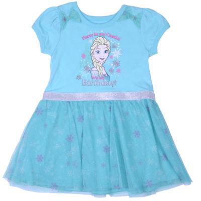 Disney Frozen Elsa Short Sleeve Frozen Skater Dress - Toddler Girls