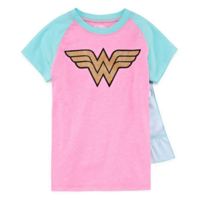 Wonder Woman Graphic T Shirt w Detachable Cape Set- Girls' 7-16