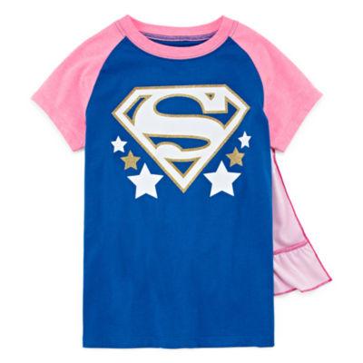 Superman Graphic T-Shirt w Detachable Cape Set- Girls' SM-XLG