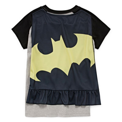 Batman Graphic T-Shirt w Detachable Cape Set - Girls' 7-16