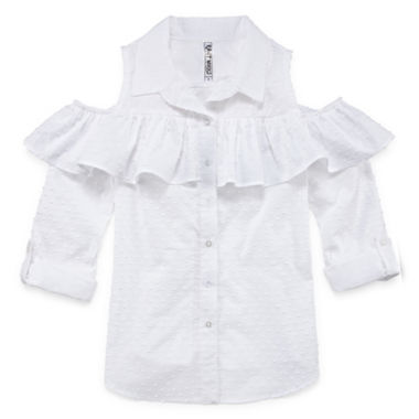 Beautees 3/4 Sleeve Cold Shoulder Ruffle Top- Girls' 7-16